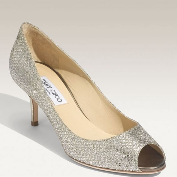 We Adore The Peep Toe Detail And The High But Not Too High  Heel And Love  The Overall Twinkle Of The Silver Finish.