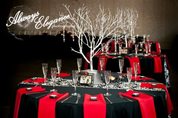 ... trees centerpieces black red white silver reception Reception Table