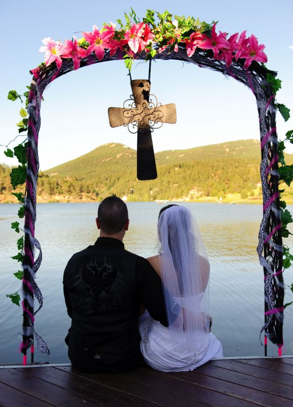 Hot Pink Black Wedding Arch cross not included One of a Kind