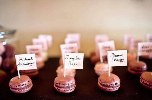 Macaron Favours :  wedding edible favors macarons macaroons pink wedding favors Macaroons Name Cards
