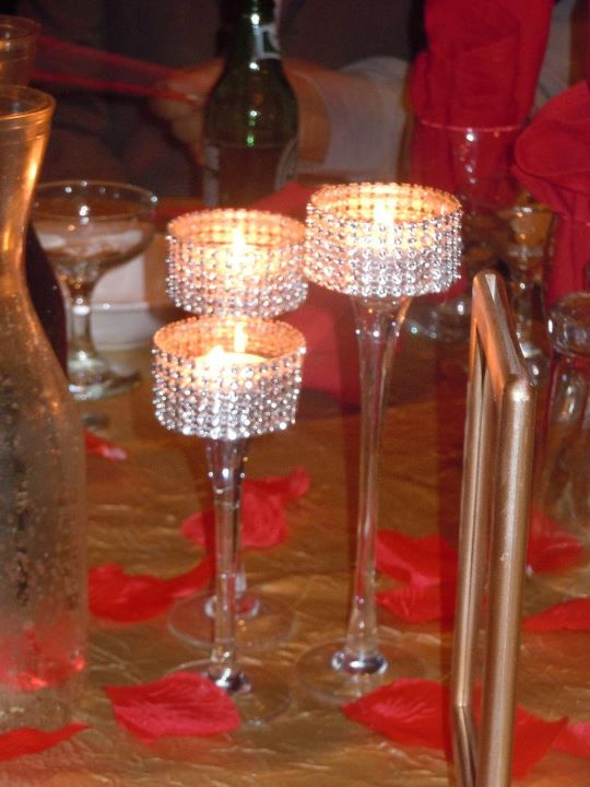 POST WEDDING SALE Bling Stemmed Votive Centerpieces