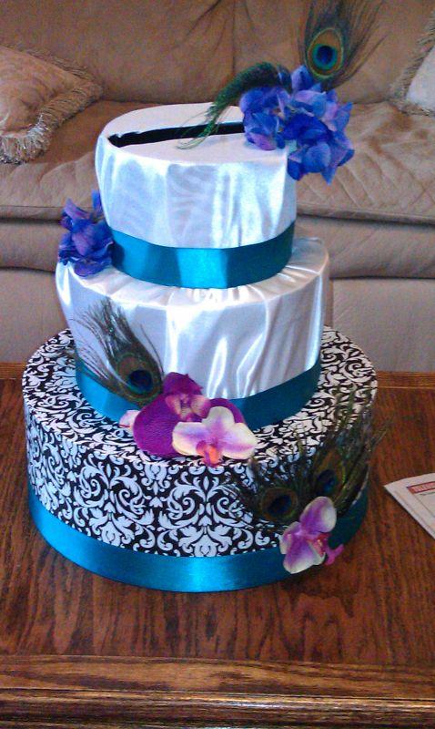 Cake like Cardbox wedding cardbox teal purple cake diy IMAG0046