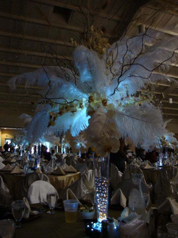 Elegant wedding centerpieces wedding ostrich feathers pearls black brown