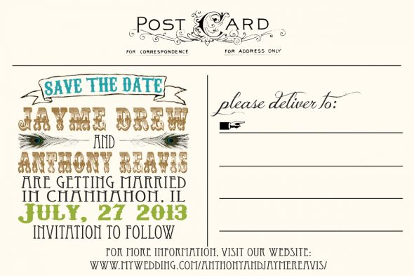 Postcard STDs :  wedding engagement invitations postcard save the date std teal Postcard STD Copy2