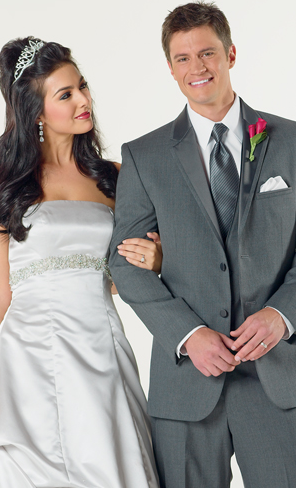 Helpneed Charcoal Gray Suites or Tuxes wedding Picture 3tux