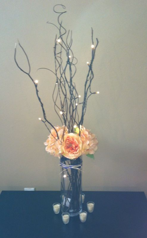 Tree branch wedding centerpiece with lights