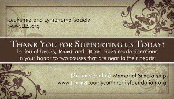 Donations in lieu of wedding favors images wedding decoration ideas in lieu of favor card wording therapyboxfo stopboris Image collections