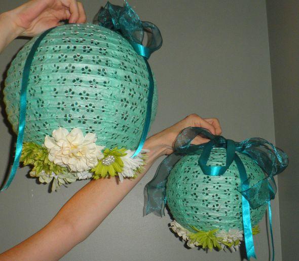 My destination wedding DIY reception paper lanterns wedding teal green
