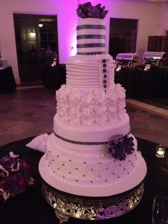 Pin Modern Couture 5 Tier Wedding Cake Ivory Purple Silver Cake On Pinterest