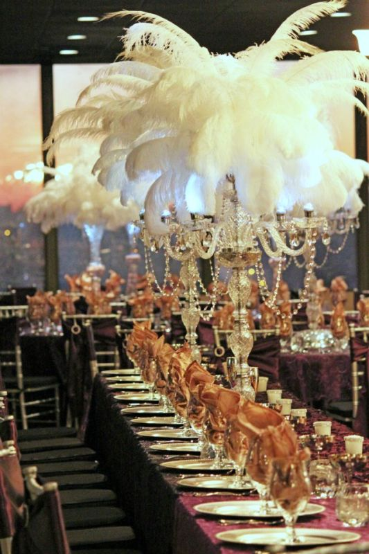 Feathers and crystal candelabra make a beautiful