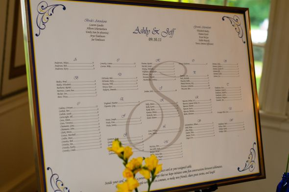 She also did our reception seating chart which we used instead of escort