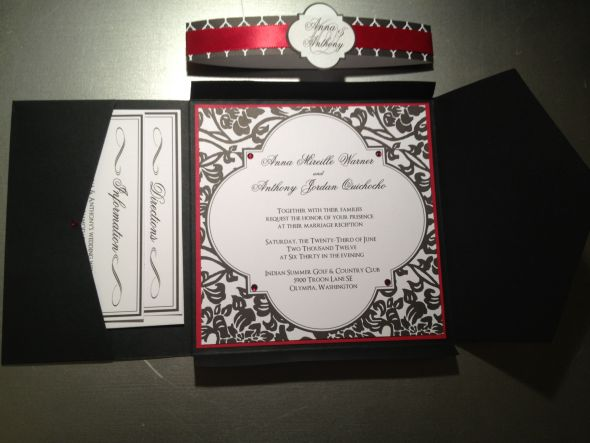 I just added my embellishments to a wedding invitation kit