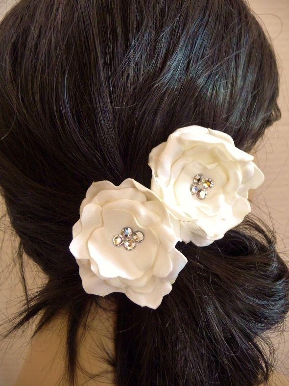 TWO Swarovski Ivory Satin Tea Rose Bridal Hair Pins