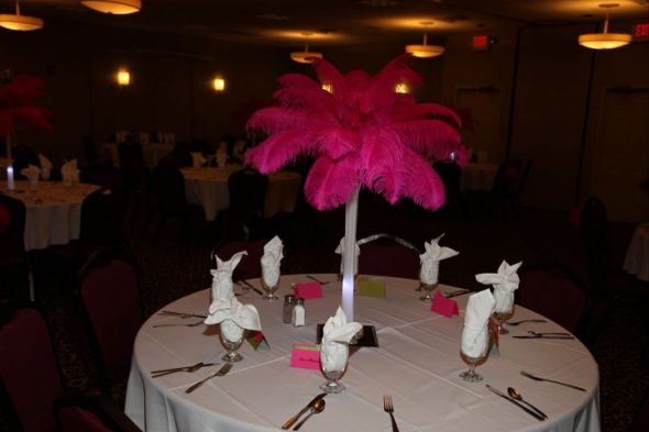 Hot pink feather centerpieces wedding feathers hot pink feather