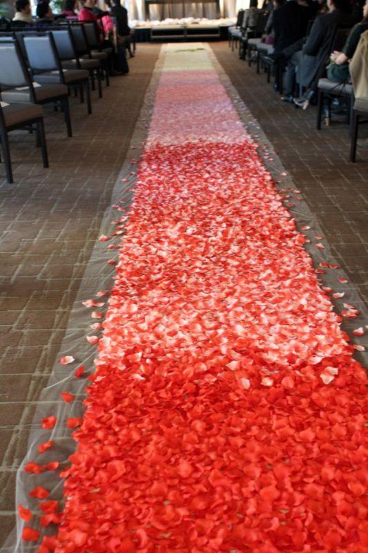 photo start rose petal aisle runner