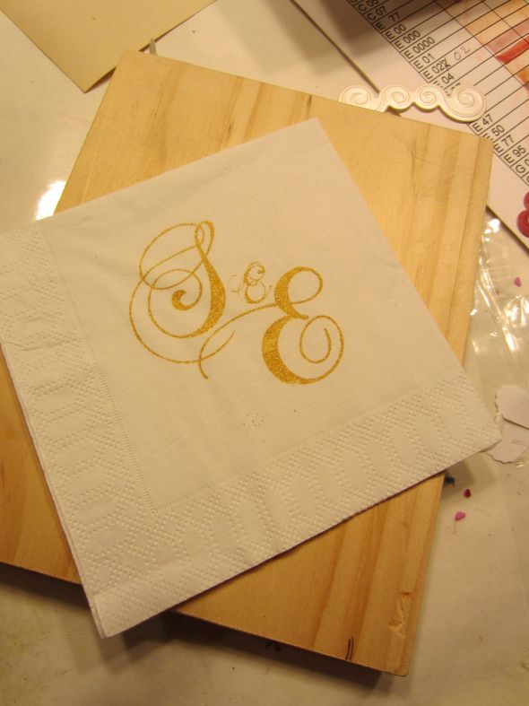 Cocktail napkins wedding napkins stamp cocktail reception gold white diy