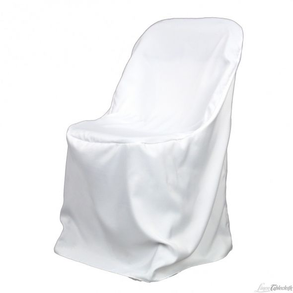 Folding Chair Cover wedding white Folding Poly White Chair Cover 1