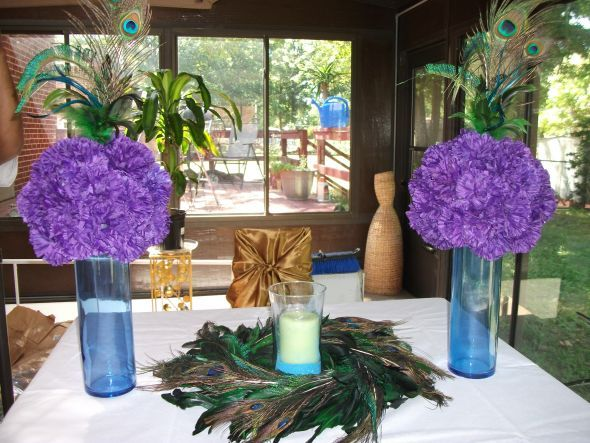 wedding peacock purple grey teal Centerpiece 006