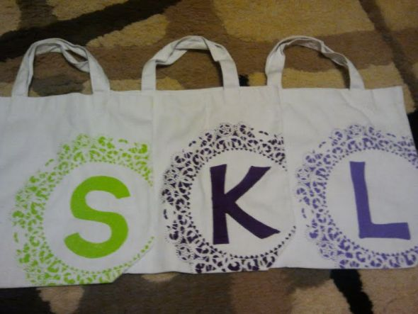 Bags for my Bridesmaids wedding bridesmaid gift tote bag stencil green