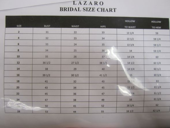 Wedding Dress Size Chart Size Chart Rosie39s Bridal ...