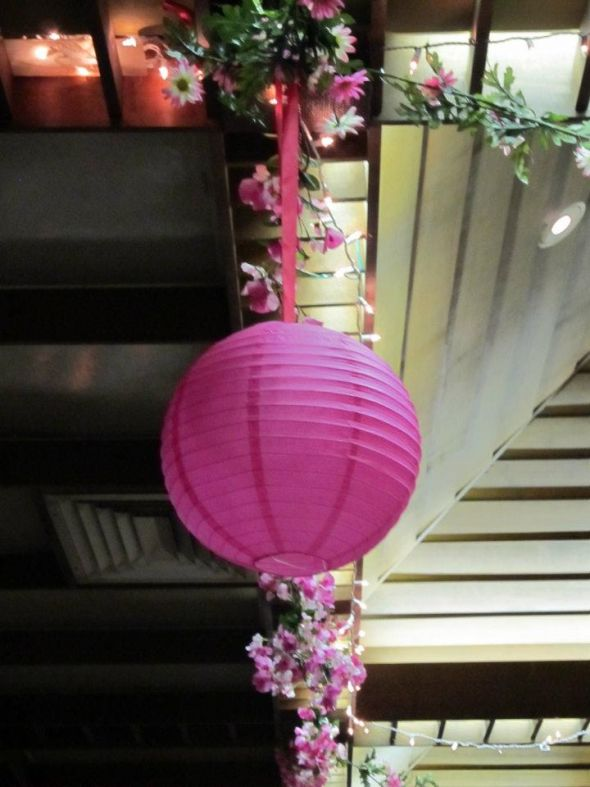 Selling pink watermelon fuhsia wedding decoration wedding paper lanterns