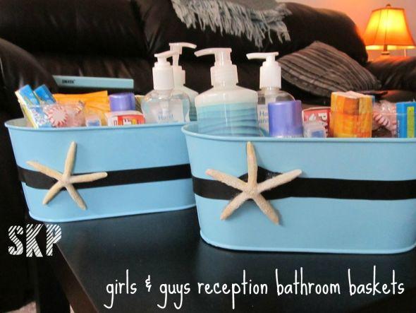 Reception bathroom baskets weddingbee photo gallery for Wedding reception bathroom ideas