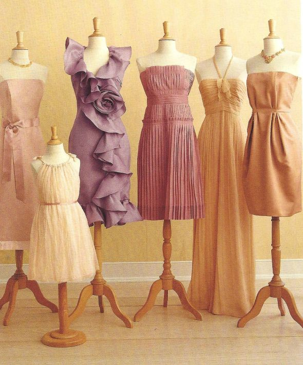 Different bridesmaids dresses in same color family for Different colored wedding dresses