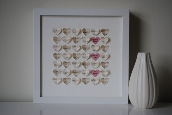 Wedding Day Gift For Parents : you gift for parents mob it s a thank you note cut out into hearts and ...