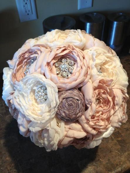 My DIY Fabric & Brooch Bouquet