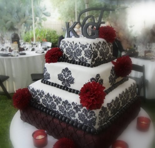 Here 39s a cake with red flowers and damask print