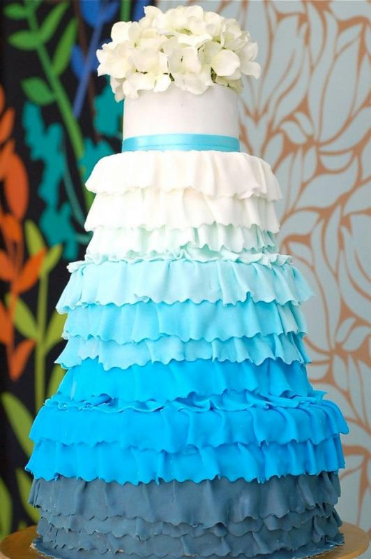 My Blue Ombre Wedding Cake wedding wedding cake cake blue ombre teal navy