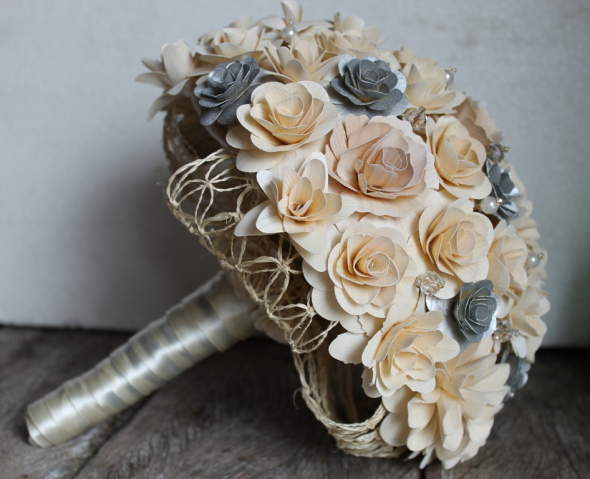 On Wooden Flowers... :  wedding diy flowers obregon mexico Bouquet Side Image via Robin Sparkles