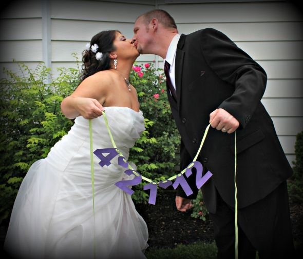 Our wedding day :  wedding bouquet ceremony dress jewelry purple shoes Wedding Pictures 156