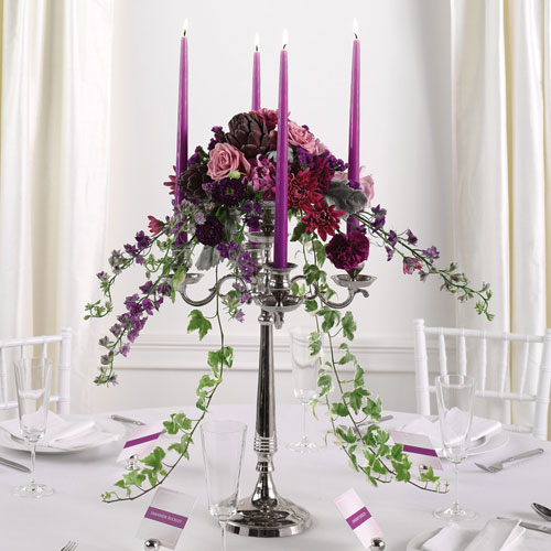 wedding color theme october Candelabra Reception Centerpiece