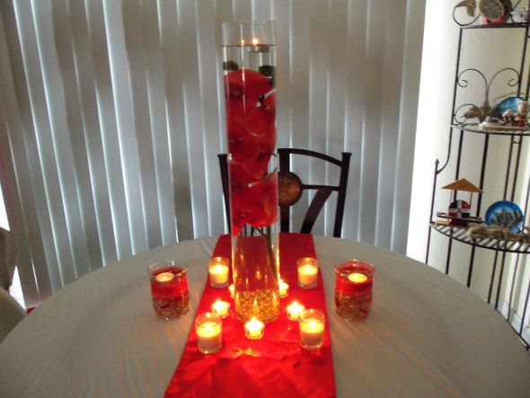 Red Orchid Centerpiece :  wedding orange reception red 012