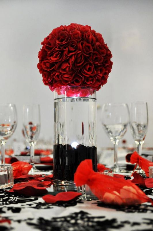 Wedding Centerpieces wedding centerpieces roses lights black red reception