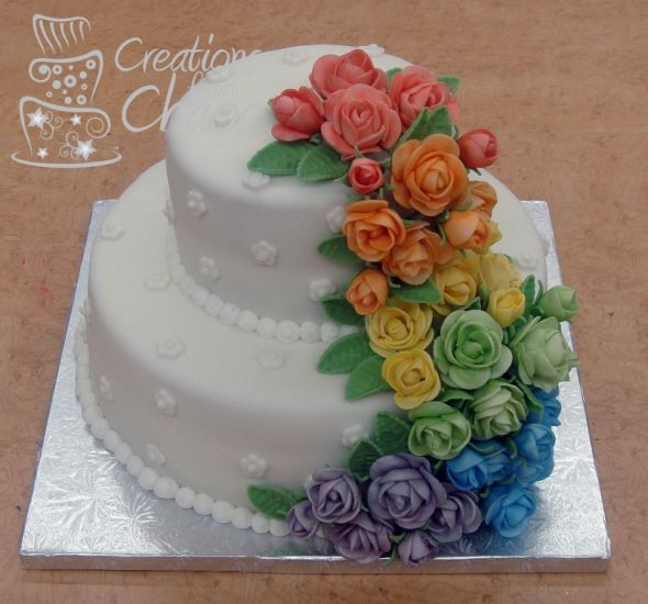 Rainbow wedding theme Inspiration needed please, Kept ... Elegant Rainbow Wedding Cake