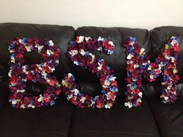 Reception Decor Initials wedding initials ceremony teal blue pink purple