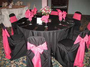 Amazing Black Table Cloth With Black Chair Covers And Light Pink Sash: