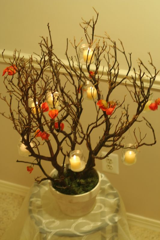 Manzanita branch centerpieces are finally finished