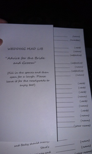 reception fun (Mad libs)