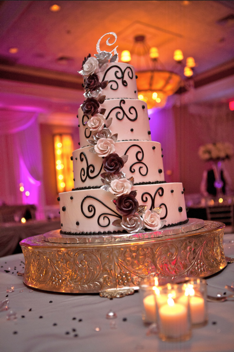 Cascade of flowers :  wedding black black and white cake fondant flowers purple silver silver and purple white Our Cake