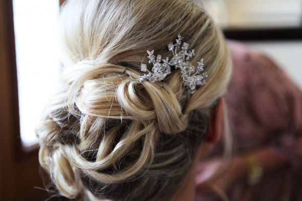 Wedding day hair and Maria Elena hairpins :  wedding accessories ceremony hair hair pin inspiration jewelery reception ScottCassie 62