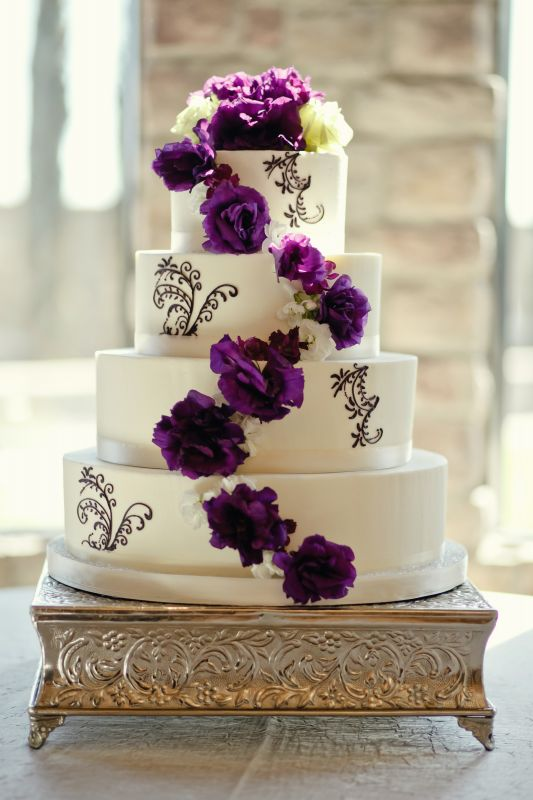 Purple And White Flower Wedding Cake