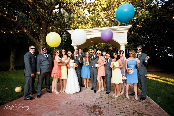 mismatched bridesmaid dresses :  wedding bill levkoff blue bridesmaids bright colors ceremony dress inspiration mismatched bridesmaids orange purple reception yellow 53016 482008411834022 1479808479 O