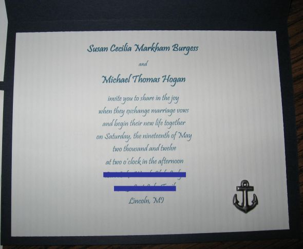 Handmade Nautical Invitations :  wedding diy invitations ivory nautical navy Wedding Invitation2
