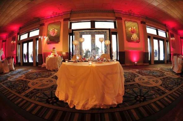 Sweetheart table with crystal backdrop Photos courtesy of Brad Glazier :  wedding black pink reception white Stable1
