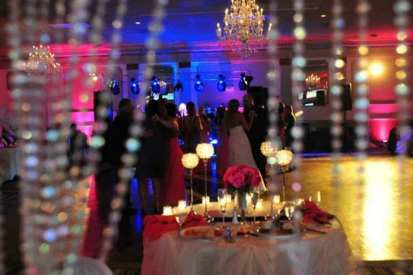 Sweetheart table with crystal backdrop Photos courtesy of Brad Glazier :  wedding black pink reception white Stable5