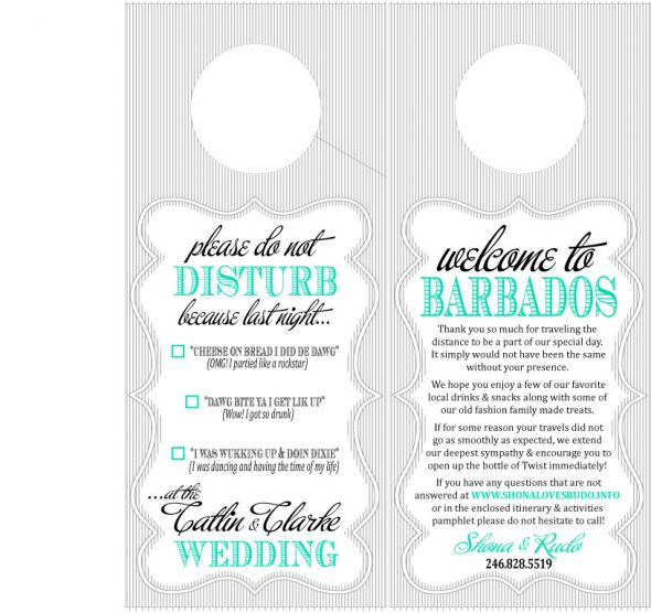destination wedding oot bag door hanger wedding peacock diy barbados