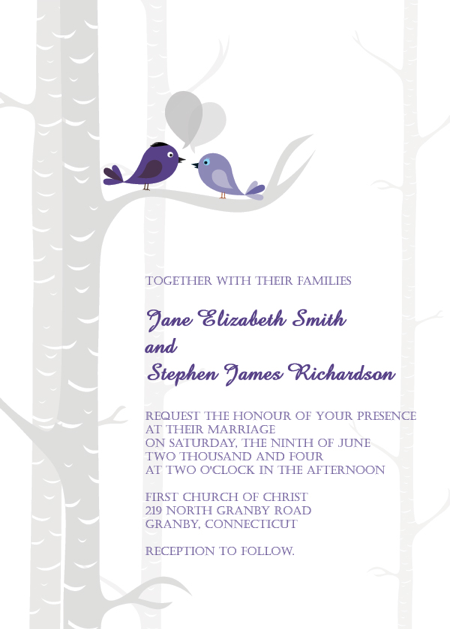 Wedding Invitation Template wedding black purple white ivory silver